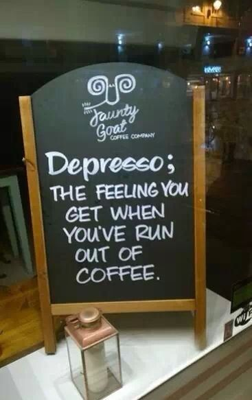 These marketers get it! Depresso it is!      (chalk on a blackboard, on white paper and kraft background).