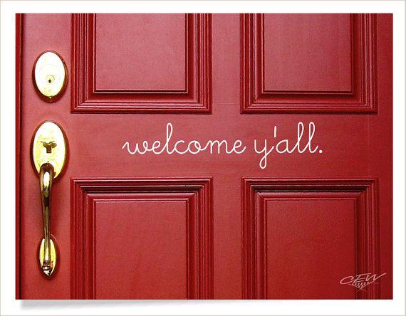 Welcome y'all front door decal hello vinyl by CEWgraphicsNdesigns