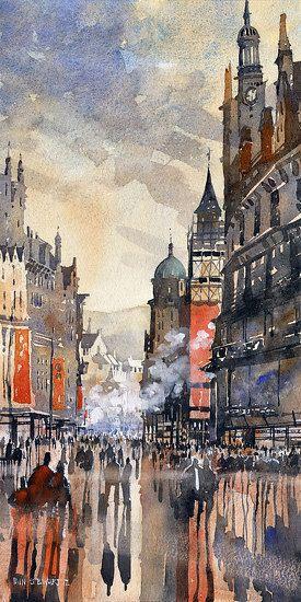 "Buchanan Street No.2 Glasgow by Iain Stewart Watercolor ~ 20"" x 10"""
