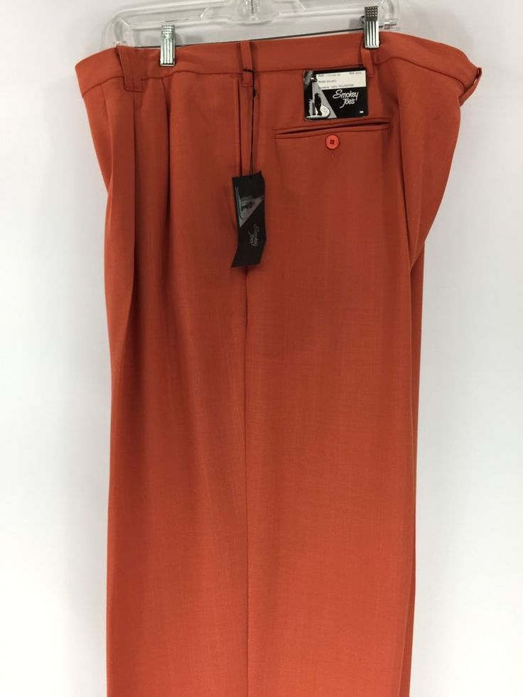 Smokey Joe's Men's Orange Dress Pants 2 Pleats Cuffed Hem Baggy Size 54XL x 32 #SmokeyJoes #DressPleat