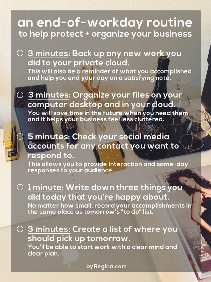 An end-of-workday routine for any #freelancer or #blogger to help protect your business and organize you for the next day.