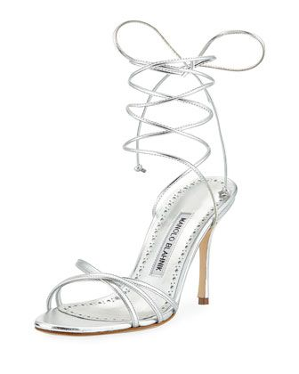 leva metallic strappy ankle wrap sandal silver by manolo blahnik at rh pinterest co uk