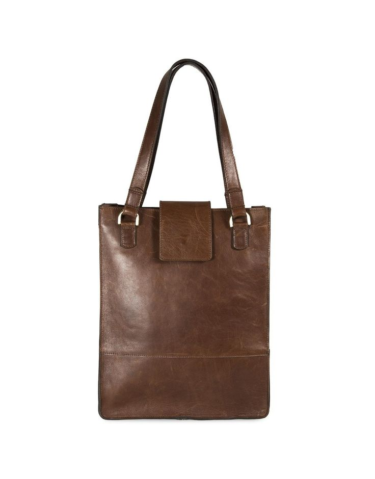 Leather Flap Shopper