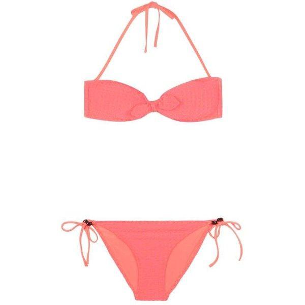 Heidi Klein Bikini ($270) ❤ liked on Polyvore featuring swimwear, bikinis, bikini swim wear, bikini two piece, bikini swimwear, hot pink bikini and heidi klein swimwear