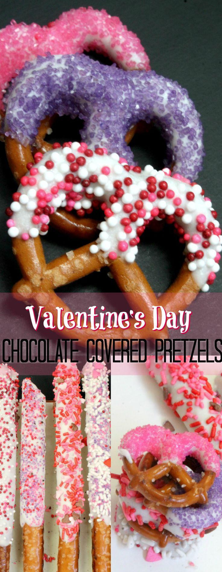 Valentine Dipped Pretzels. Valentines Day Chocolate Covered Pretzels best kid friendly valentine recipes. Make Chocolate Dipped pretzel rods