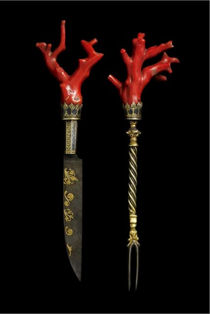 "Late 16th-century Venetian knife and fork with coral handles. ""Luxury goods like this were imported into Britain from Venice. Whatever your class, eating knives and spoons were carried by all and for the well-off were worn as items of status defining jewellery."" © Minneapolis Institute of the Arts, via Food History Jottings http://foodhistorjottings.blogspot.co.uk/"