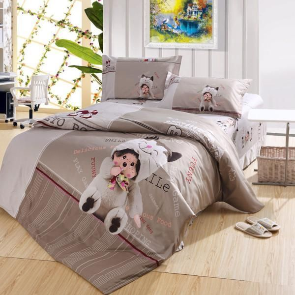 Симпатичный Медведь Кукла Серый Monchhichi Постельное белье для Двуспальной Кроватью, 100% Хлопок Пододеяльник Простыни Наволочки Спальные гарнитуры на Продажу