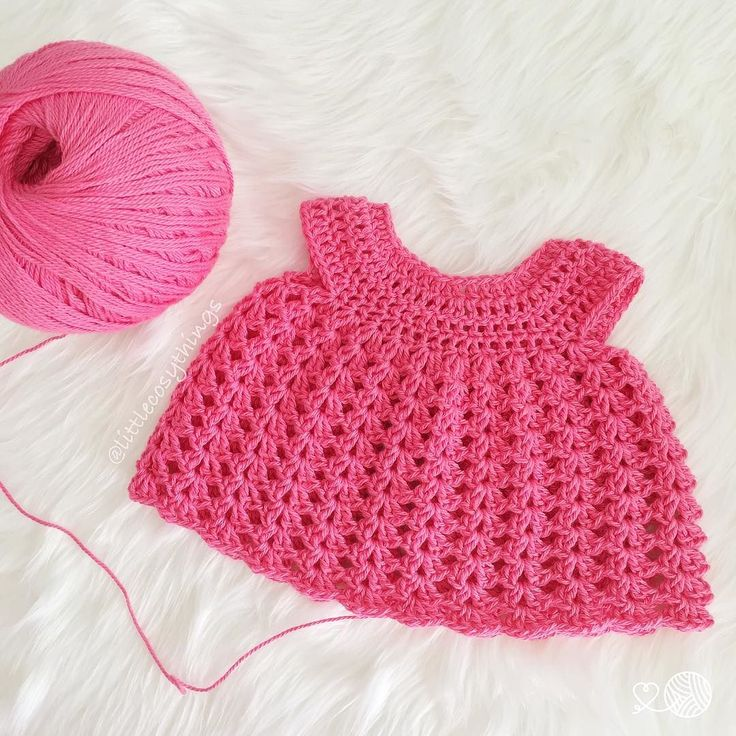 """I'm making something pretty & pink - it's a little cotton baby dress on my hook   Hellooooo lovely people!! Sorry i went MIA for a little bit! Just got knocked about with some medication  exhausted & feeling poorly etc etc & when that happens i tend to go into hibernation mode  BUT I'm dusting myself off & I'm back to the Little Cosy Things  IG land now! Thank you for all the lovely messages & love (sorry if i made you worry!)  xxx  #littlecosythings  Pattern is """"The Layla Dress"""" by Truly…"""