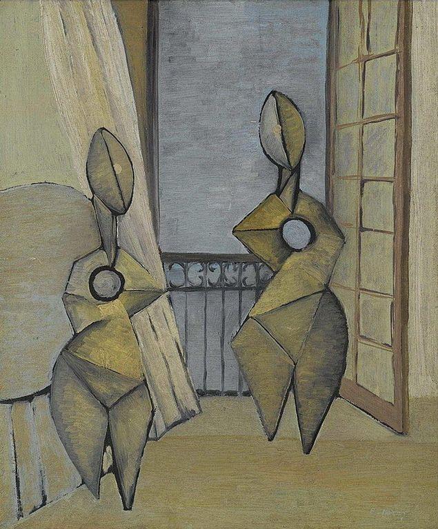 Μάρρος Βασίλης – Basilis Marros [1897-1954] FIGURES BY AN OPEN WINDOW