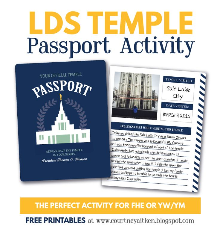 LDS Temple Passport Activity Idea -  This would be great for a Young Womens activity! So many AWESOME ideas!