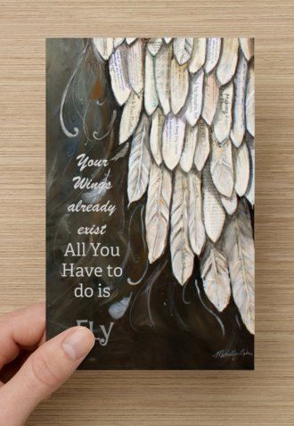 This Angel wing tip card is a print of an original painting by me, Michelle Lake, called Wings of Enlightenment Front of the card : Your Wings