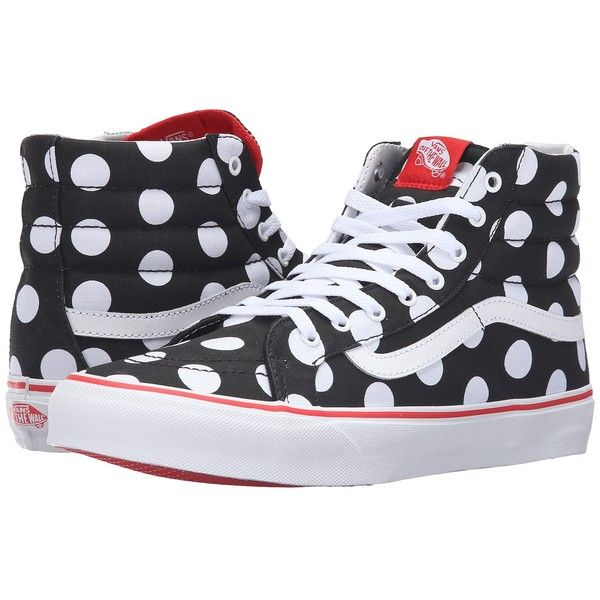 Vans SK8-Hi Slim ((Polka Dot) Black/Fiery Red) Skate Shoes ($65) ❤ liked on Polyvore featuring shoes, sneakers, black leather high tops, red sneakers, vans sneakers, red high top sneakers and black high tops