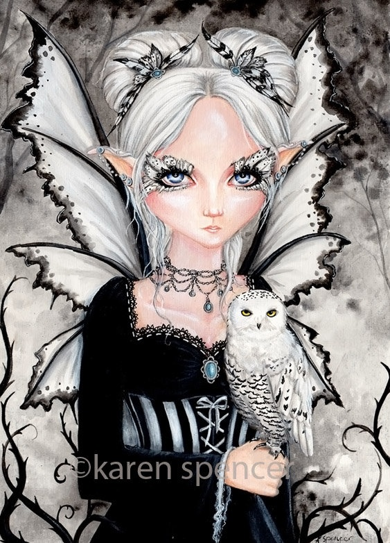 Owl fae by karen spencer Fairy Myth Mythical Mystical Legend Elf Fairy Fae Wings Fantasy Elves Faries Sprite Nymph Pixie Faeries Enchantment