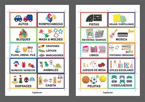 Etiquetas para organizar juguetes (imprimibles gratis!) y 6 consejos para lograrlo   Frugalísima