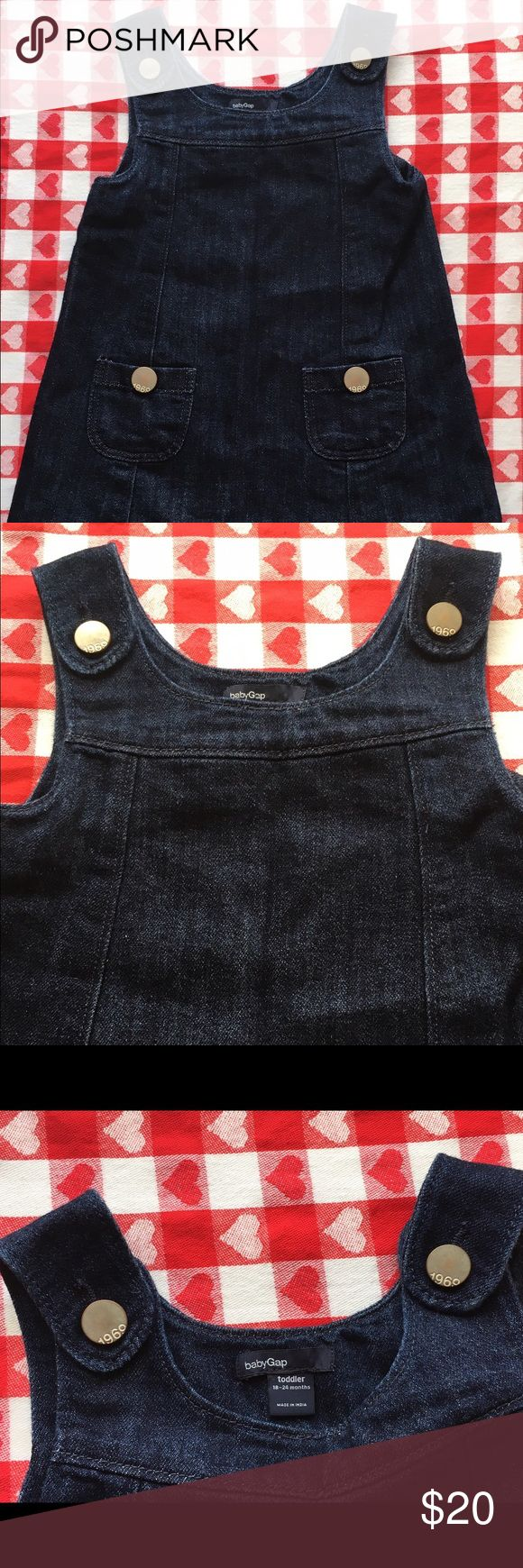 Toddler Jean jumper dress size 18-24 Months Adorable girls 18-24 month Jean jumper dress. Lightly worn one time! No holes or stains and comes from a non-smoking home. In awesome condition. Please see the pictures and email me with any questions. Thanks. Dresses