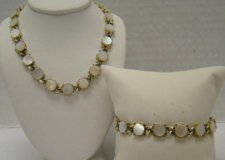 Coro Signed Vintage Mother Of Pearl Necklace Amp Bracelet