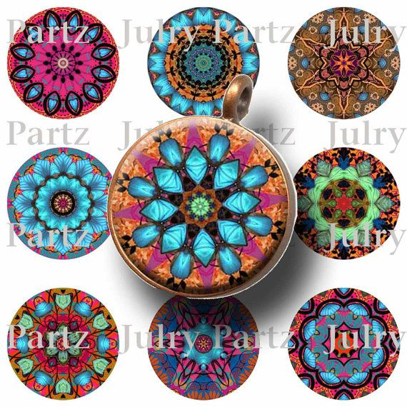 TAPESTRY CIRCLE 1x1 Circle Images  Printable Digital by JulryPartZ, $3.25