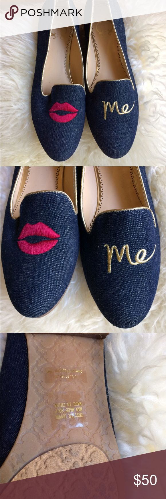 Like New C Wonder 'Kiss Me' Loafer Flats Sz 6.5 Like new only worn twice C Wonder Kiss Me Loafer Flats in Denim color with gold trim. So adorable! Happy shopping 💁 C Wonder Shoes Flats & Loafers