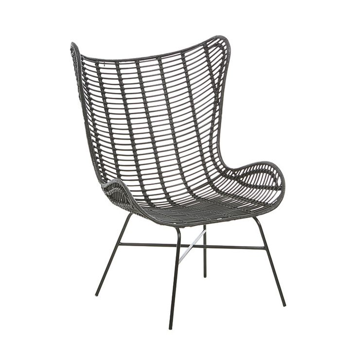GlobeWest - Tango Butterfly Large Occasional Chair in black rattan