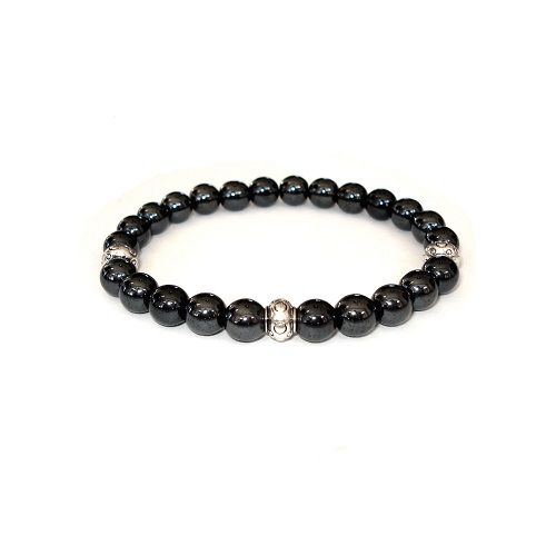 Stone heren armband van hematiet. Heel goed te combineren met een armband van hout, staal, kurk of koord.