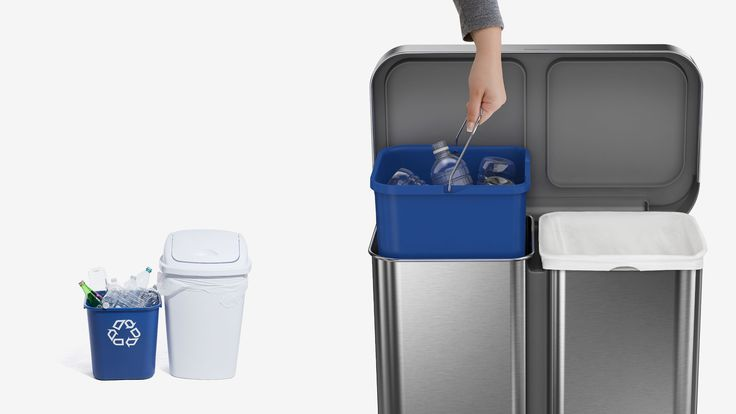 The simplehuman dual compartment stainless steel rectangular step can makes it easy to neatly sort your trash and recyclables in one convenient, space-efficient space. On one side, it features an innovative 'liner pocket' that stores and dispenses liners from inside the can for a faster liner change. The other side has a convenient handled bucket for easy lifting and disposal of all your recyclables. The stainless steel liner rim grips the liner and keeps it hidden. A strong wide stee...