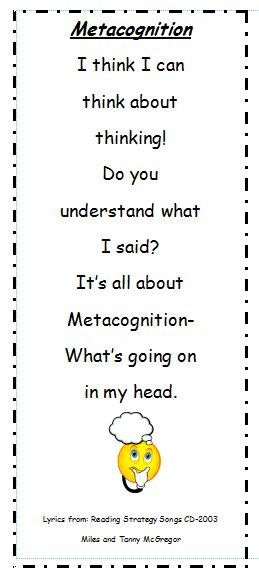 metacognitive anchor charts | We will create a metacognition anchor chart like this one (found on ...