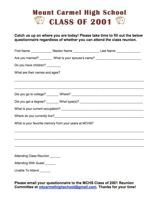 How To Make A Questionnaire For A High School Reunion