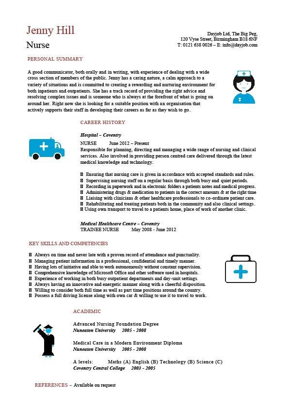 Nursing CV template, nurse resume, examples, sample, registered, resumes, healthcare work, jobs