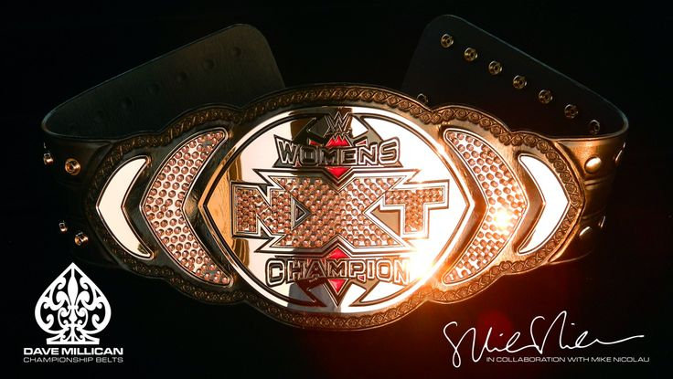 Here is a photo of the current WWE-NXT Women's Championship. This belt was a collaboration between Dave Millican and Mike Nicolau. Design created and owned by WWE, Inc. #wwe #nxt #divas www.wwe.com http://www.davemillicanbelts.com/index2.htm