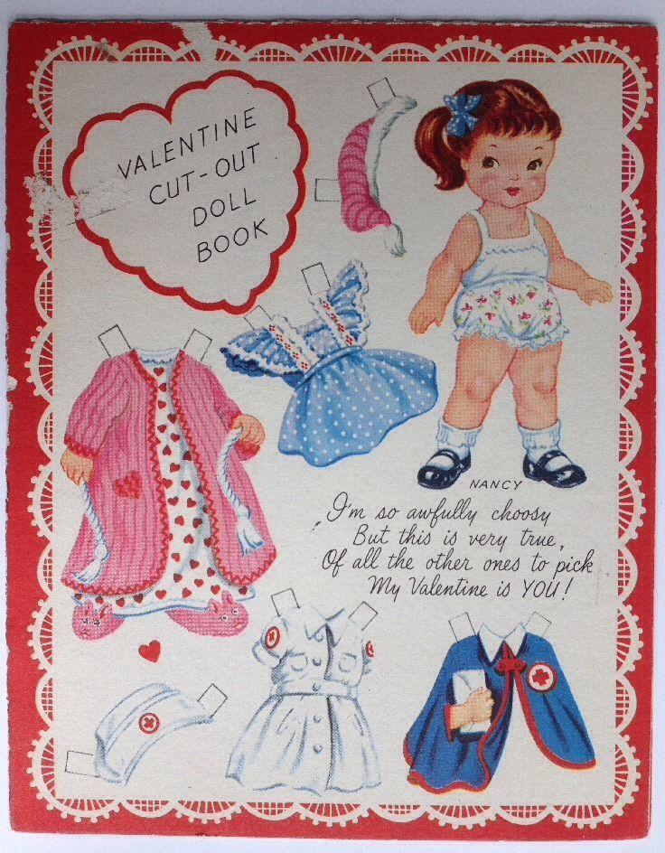 3 Vintage 1940's 1950's Valentines Paper Doll Greeting Cards Colortype Americard | eBay