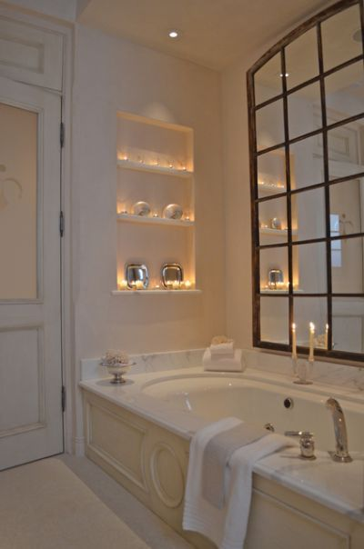 room: Bathroom, Eclectic room by Melanie Giolitti Interior Design...no window over your bath, hang a mirror More