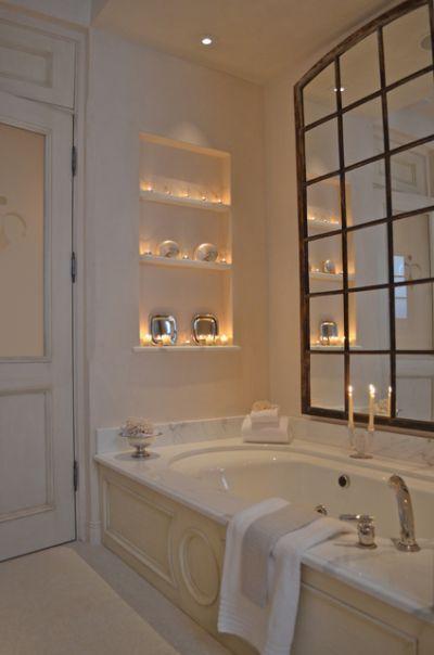 room: Bathroom, Eclectic room by Melanie Giolitti Interior Design...no window over your bath, hang a mirror                                                                                                                                                      More