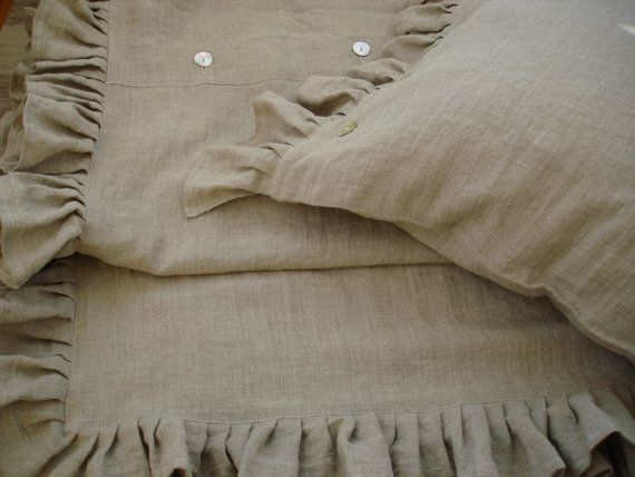 Linen DUVET COVER with Ruffles. With natural by LinumStudio