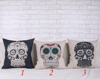sale sugar skull ecru halloween decor 45cm18 vintage retro linen cotton cushion cover shabby chic