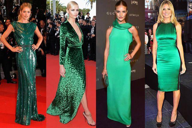 Vestito verde smeraldo e nero