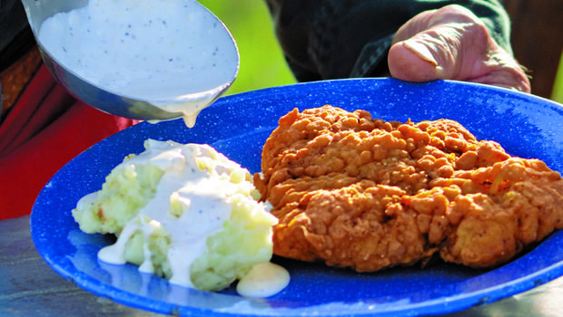 """Recipe: Throwdown-Winning Chicken-Fried Steak - CBS News - Recipes and photography from """"A Taste of Cowboy: Ranch Recipes and Tales from the Trail"""" by Kent Rollins"""