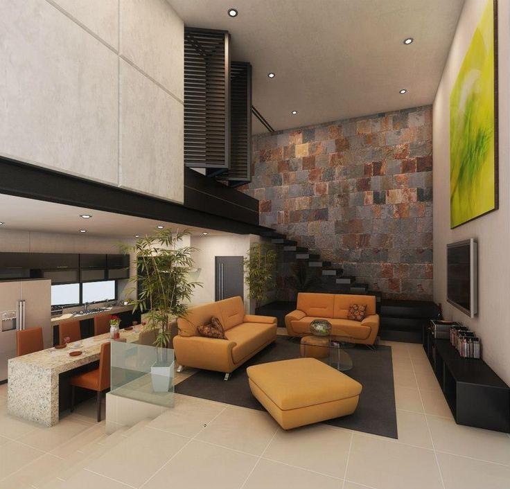 Ejemplo de decoración de salón con escaleras interiores