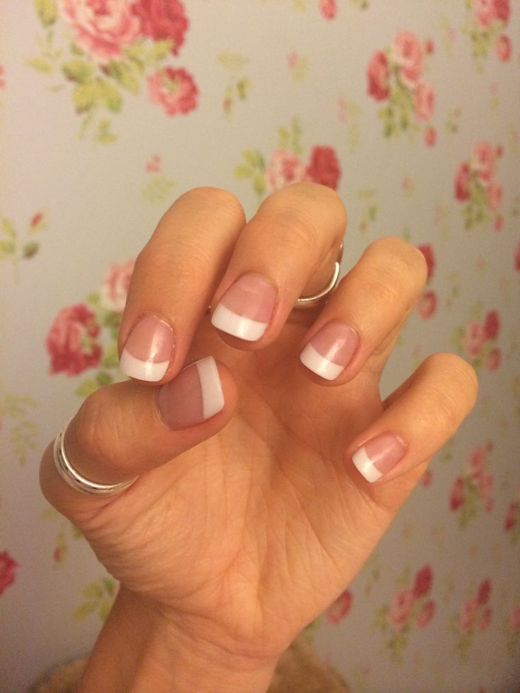 Pink and white acrylic nails. Natural white tip. I like this shape and length, very natural looking. Pretty!