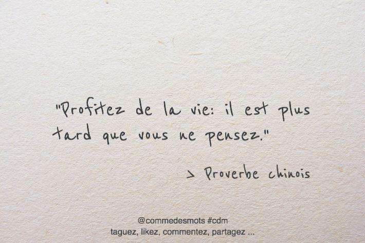 """""""Profitez de la vie: il est plus tard que vous ne pensez."""" #citation #proverbe #chinois #citationdujour"""