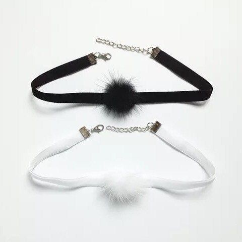 Black / White Velvet Choker Necklace with Fluffy Mink Fur Ball Pom Pom, Purple Pom Pom - http://www.minkfur.net/black-white-velvet-choker-necklace-with-fluffy-mink-fur-ball-pom-pom-purple-pom-pom.html