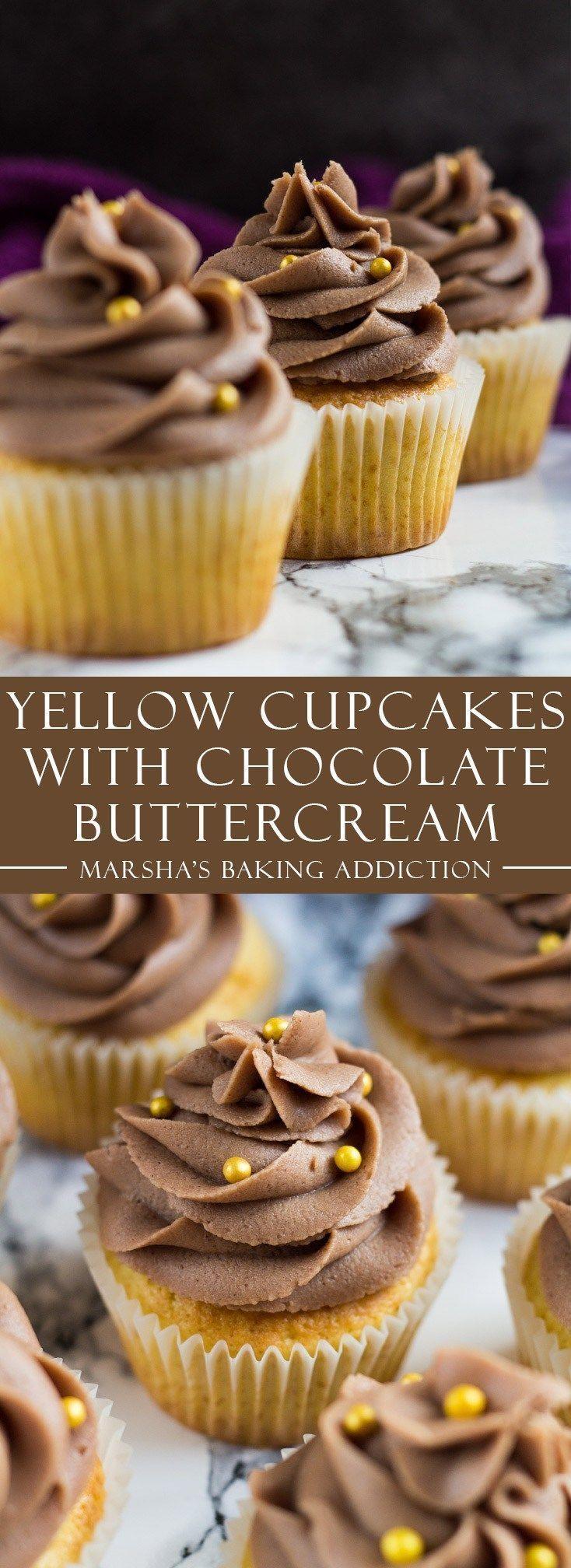 Yellow Cupcakes with Chocolate Buttercream Frosting | http://marshasbakingaddiction.com /marshasbakeblog/