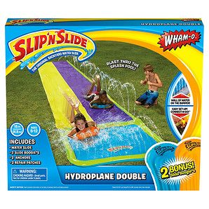 The Slip 'n Slide Hydroplane Double is a 15-foot water slide with two lanes that two kids can race down. The slide comes with 2 bonus inflatable Slide...
