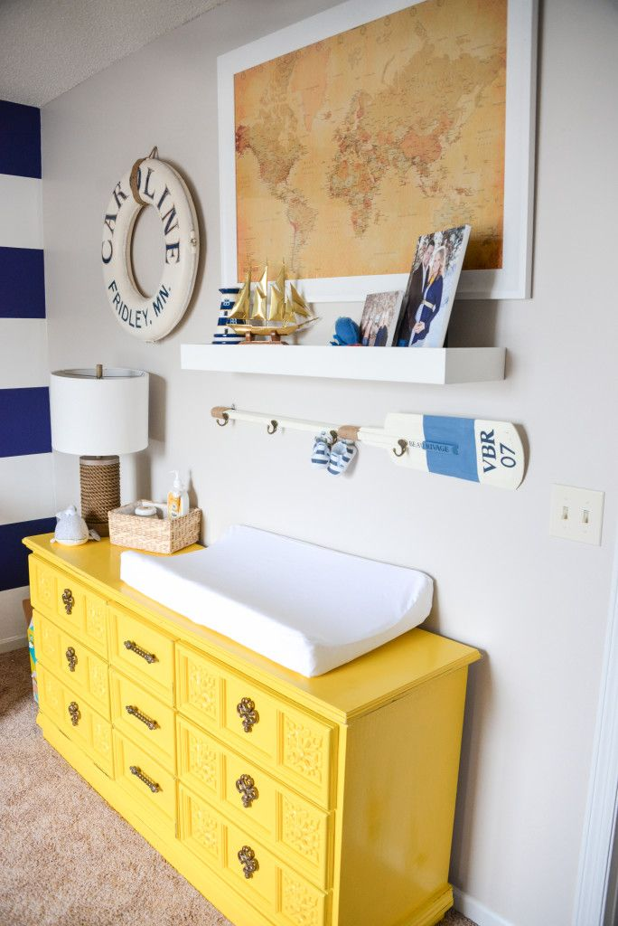 Project Nursery - Painted Yellow Dresser in this Nautical Nursery