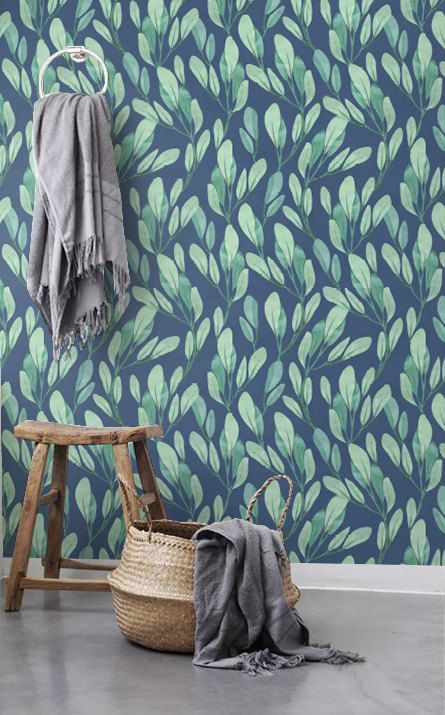 Watercolor leaves wallpaper Botanical removable door BohoWalls