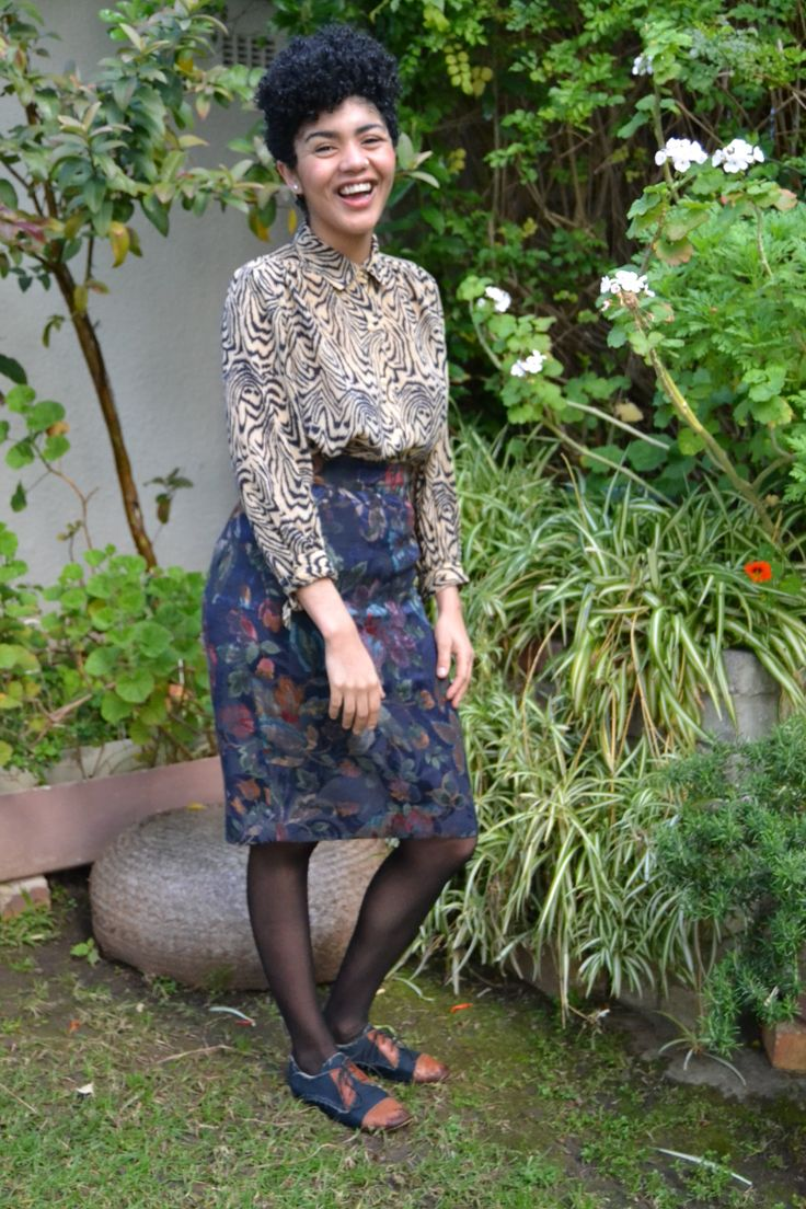 I'm wearing a patterned shirt by Babette Clothing on Church Street in Cape Town, a brocade pencil skirt from Luca Boutique in Paris and leather and canvas brogues by SA designer, Coast and Koi. Glamour South Africa | Today I'm wearing...