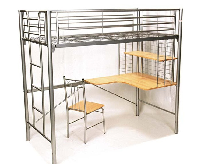 SF KING SINGLE HARVARD STUDY BUNK WITH DESK & BONUS CHAIR - SILVER ONLY - SIZE - 1830(H) X 1160(W) X 2170(L) $549 from Furnish.com