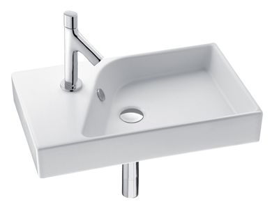 Rythmik 600mm Compact Basin  Features:    Left hand tap hole only  Overflow outlet