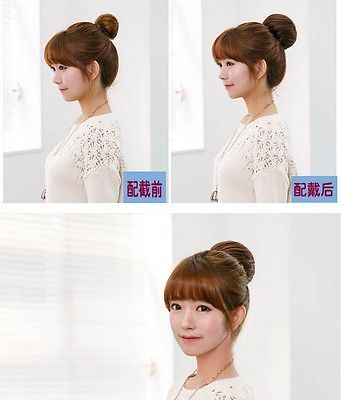 Authentic Korean Fashion Clip in on Human Hair Piece Extensions Bun Updo AB