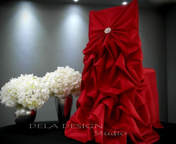 My new Red specialty wedding/party chair cover, hand gathered of beautiful lush red taffeta and decorated with the most beautiful sparkly