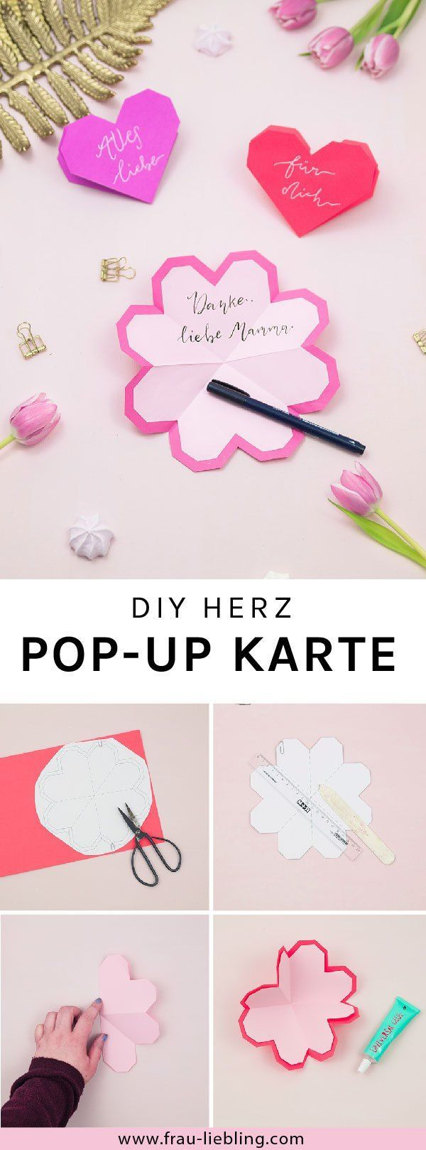So kannst du einfach eine DIY Herz Pop-Up Karte basteln
